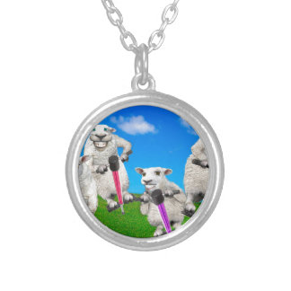 Jumping Sheep Silver Plated Necklace