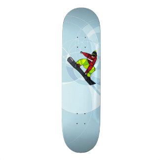 Jumping snowboarder  on blue background skateboard