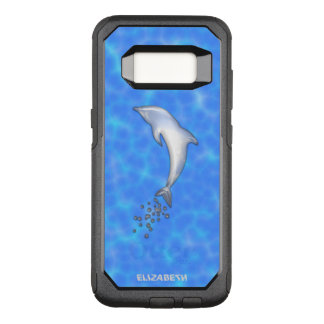 Jumping Sparkling Blue Dolphin With Bubbles OtterBox Commuter Samsung Galaxy S8 Case