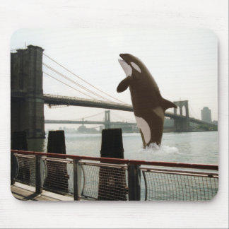 Jumping the Brooklyn Bridge Mousepad