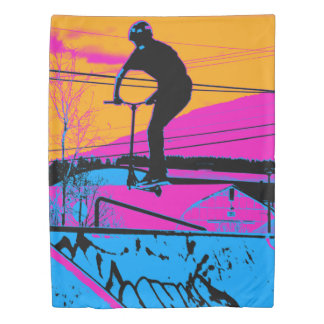 Jumping the Ramp - Scooter Champ Duvet Cover