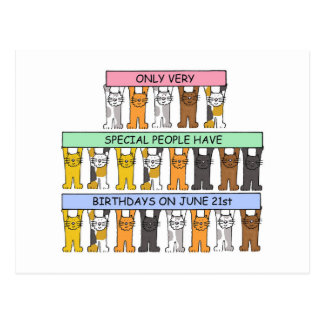 June 21st Birthday Cats Postcard