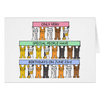June 23rd Birthday Cats Card