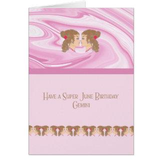 June Birthday Card for a Gemini Zodiac Sign