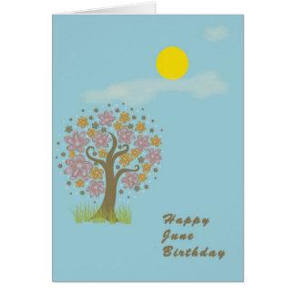 June Birthday Card with Sun & Creative Tree Blank