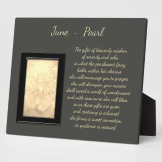 June Birthstone Pearl Plaque