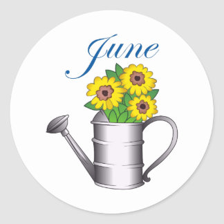 JUNE FLOWERS CLASSIC ROUND STICKER