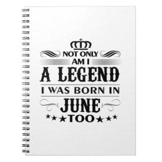 June month Legends tshirts Notebooks