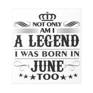 June month Legends tshirts Notepad