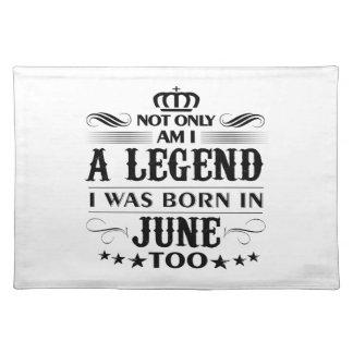 June month Legends tshirts Placemat