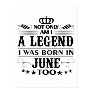 June month Legends tshirts Postcard