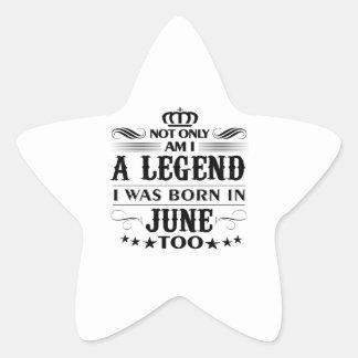 June month Legends tshirts Star Sticker