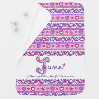 June personalized J name meaning baby blanket