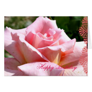 June Pink Rose Language of Flowers Birthday Card
