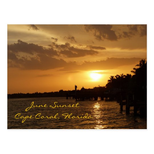 June Sunset in Cape Coral, Florida Postcard