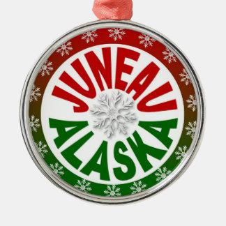 Juneau Alaksa red green snowflake ornament