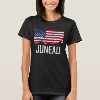 Juneau Alaska Skyline American Flag Distressed T-Shirt