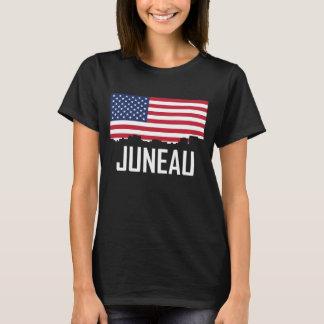 Juneau Alaska Skyline American Flag T-Shirt