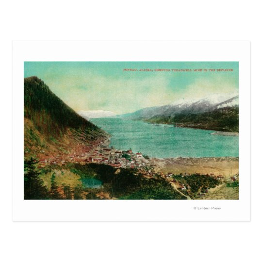 Juneau, Alaska Town View with Treadwell Mine in Postcard