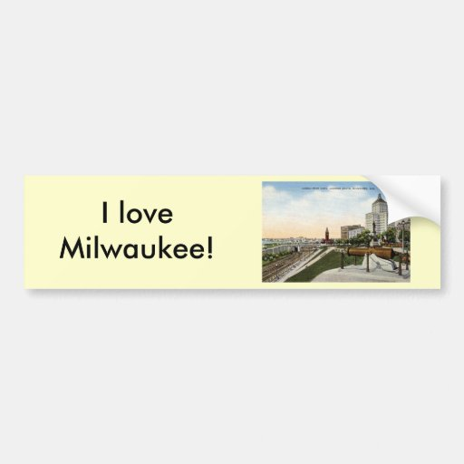Juneau Park Milwaukee Wisconsin Vintage Bumper Sticker