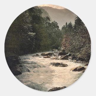 Jungfrau and Silberhorn and White Lutschine, Berne Classic Round Sticker