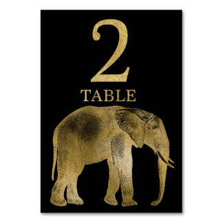 Jungle African Animal Elephant Table Number Card 2
