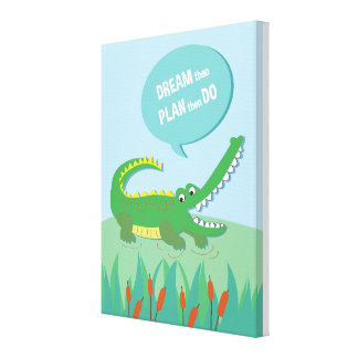 Jungle Animal Crocodile _ inspirational kids quote Canvas Print