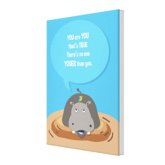 Jungle Animal Hippo_inspirational kids poster Canvas Print