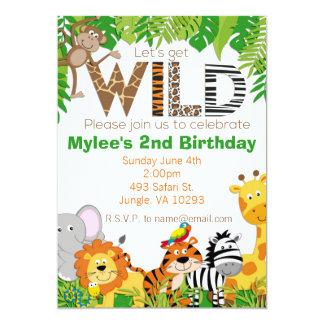 Jungle Animal Safari Birthday Invitation