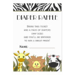 Jungle Animal Theme Diaper Raffle Ticket Business Card