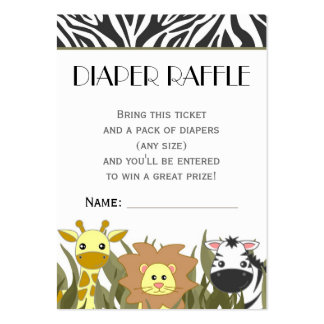 Jungle Animal Theme Diaper Raffle Ticket Pack Of Chubby Business Cards