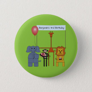 Jungle Animals Birthday Party Button - on green