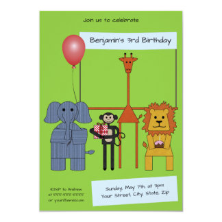 Jungle Animals Birthday Party Invitation - |No. 2|