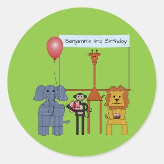 Jungle Animals Birthday Party Round Sticker