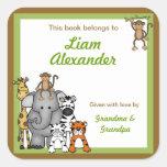 Jungle Animals Book Plates Green Boy BOOKPLATE Square Sticker