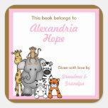 Jungle Animals Book Plates Pink Girl BOOKPLATE Square Sticker