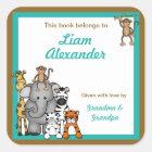 Jungle Animals Book Plates Teal Boy BOOKPLATE Square Sticker