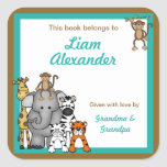 Jungle Animals Book Plates Teal Boy BOOKPLATE Square Stickers