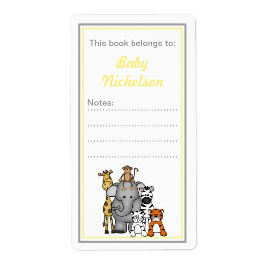 Jungle Animals bookplates yellow grey baby shower Shipping Label