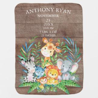 Jungle Animals Boys | Girl Birth Stats Blanket