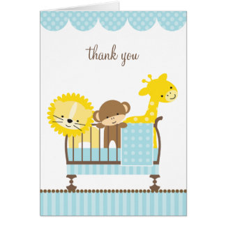 Jungle Animals in a Crib (Blue) Note Cards
