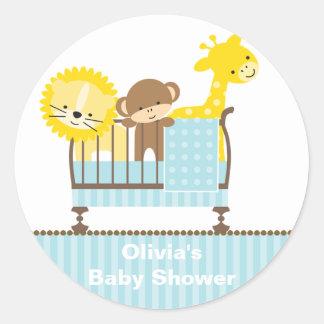 Jungle Animals in a Crib (Blue) Stickers