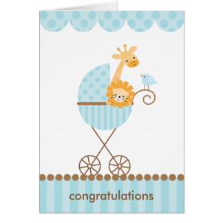Jungle Animals in Blue Stroller Notecards Card