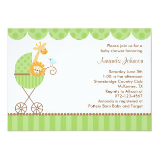 Jungle Animals in Green Stroller Invitations