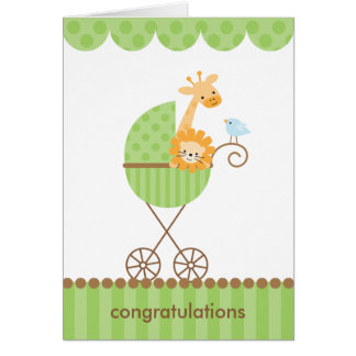 Jungle Animals in Green Stroller Notecards Card
