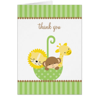 Jungle Animals in Green Umbrella Note Cards