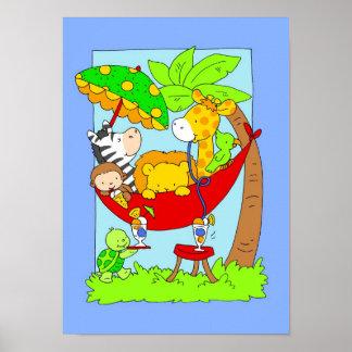 Jungle Animals in Hammock eating Ice Cream Poster