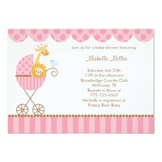 Jungle Animals in Pink Stroller Invitations