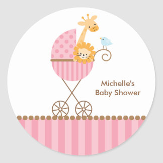 Jungle Animals in Pink Stroller Stickers