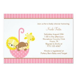 Jungle Animals in Pink Umbrella Invitations
